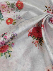 Banarasee Semi-Silk With Digital Floral Print-Pale Blue