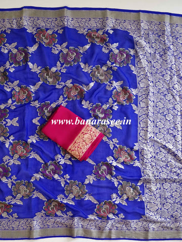 Banarasee Pure Chiffon Sari With Resham & Zari Work-Royal Blue