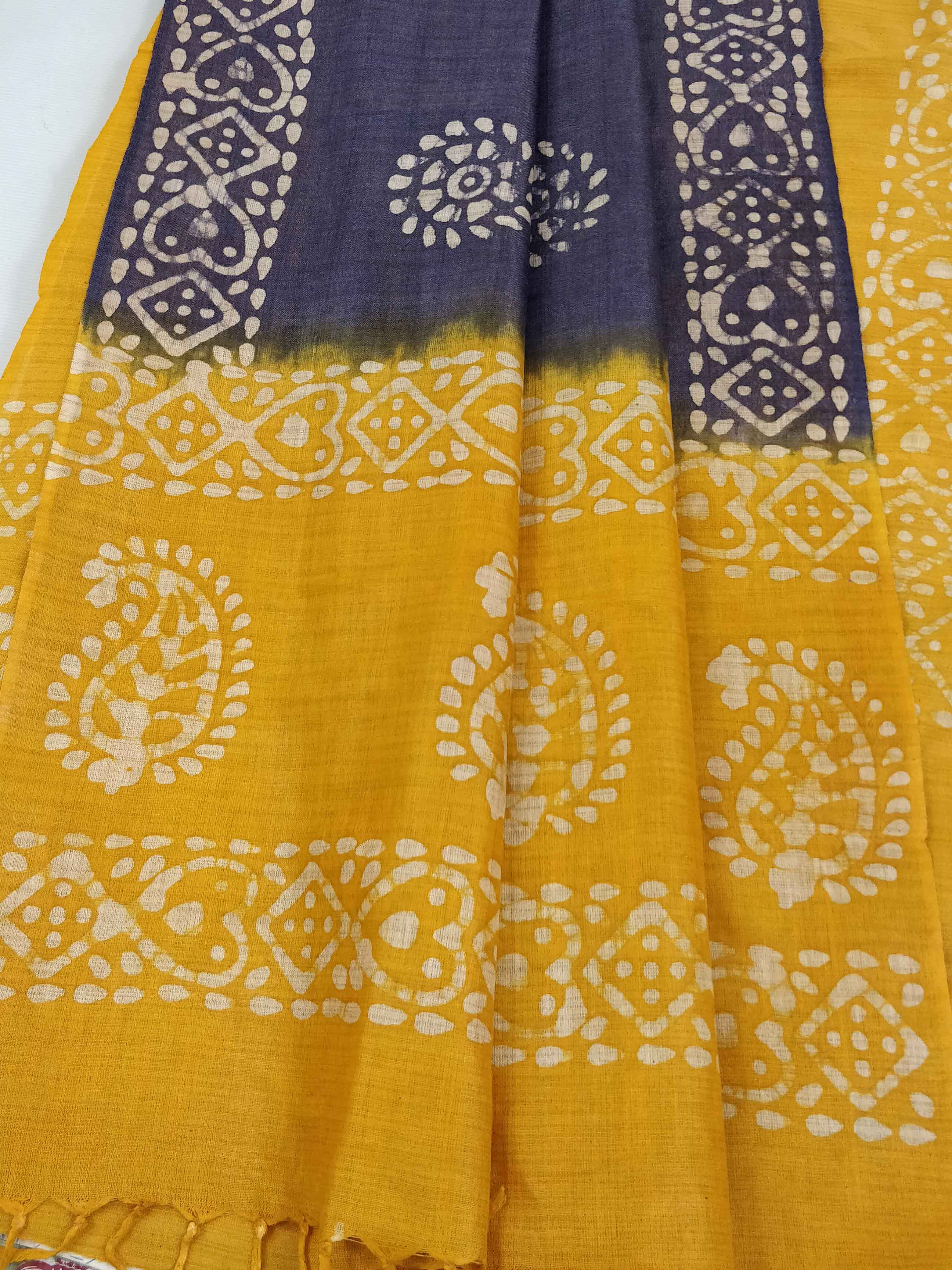Pure Handloom Khadi Cotton Hand-Dyed Batik Pattern Salwar Kameez Dupatta Set-Yellow