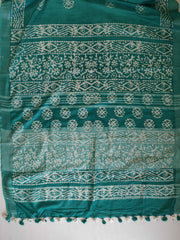 Handloom Pure Linen Cotton Hand-Dyed Batik Pattern Saree With Ikkat Blouse-Green