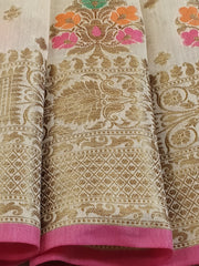 Banarasee Handloom Chanderi Cotton Resham Buta Antique Gold Zari Saree-Off White