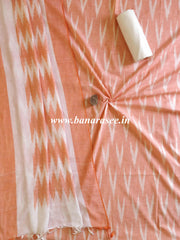 Handloom Khadi Cotton Salwar Kameez Dupatta Ikkat Woven Set-Orange