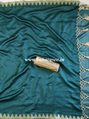 Banarasee Chanderi Cotton Ghichha Temple Border Saree With Satin Blouse-Pine Green