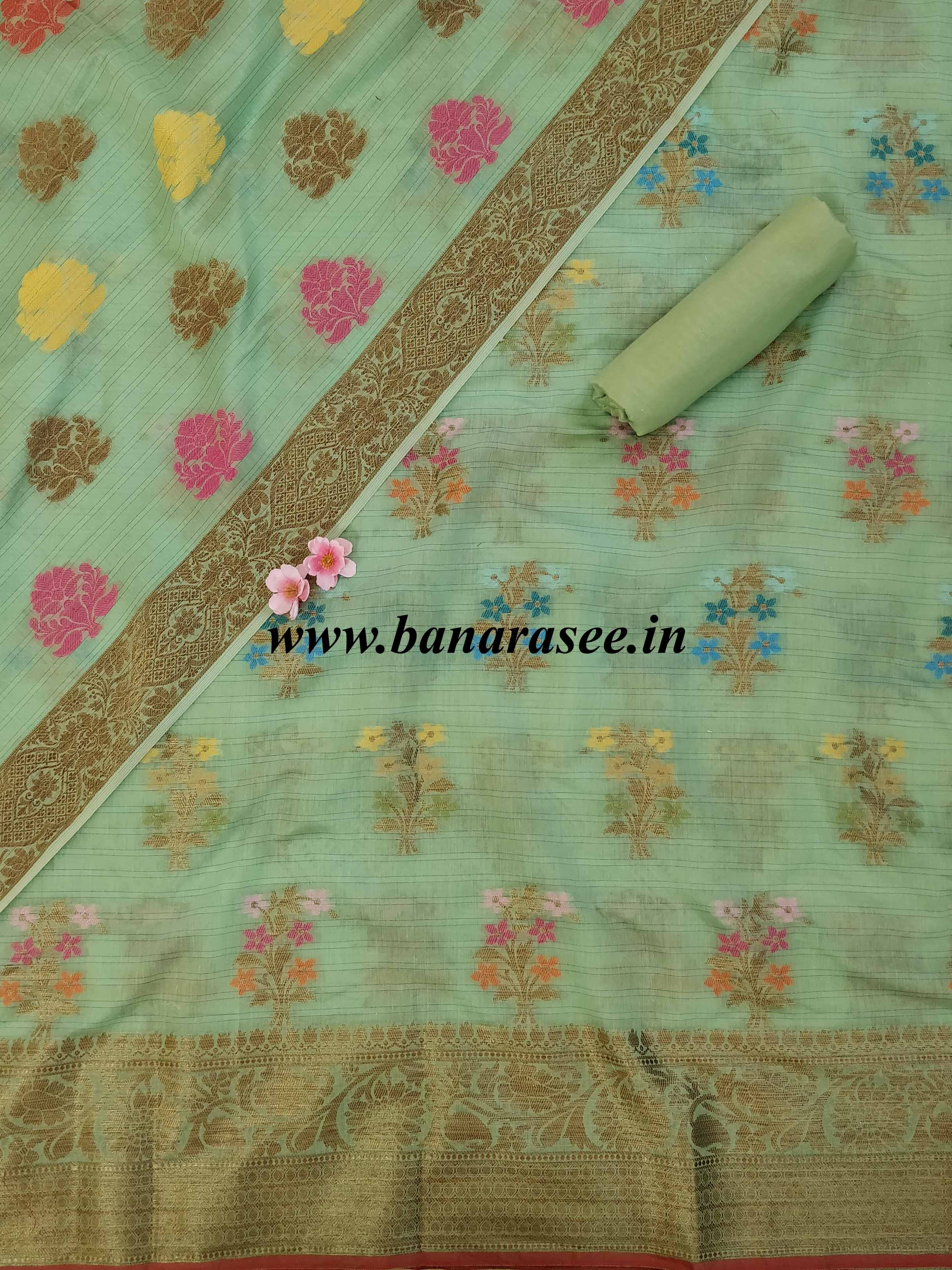 Banarasee Chanderi Cotton Salwar Kameez & Dupatta Set With Floral Design-Green