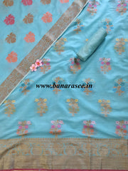 Banarasee Chanderi Cotton Salwar Kameez & Dupatta Set With Floral Design-Blue