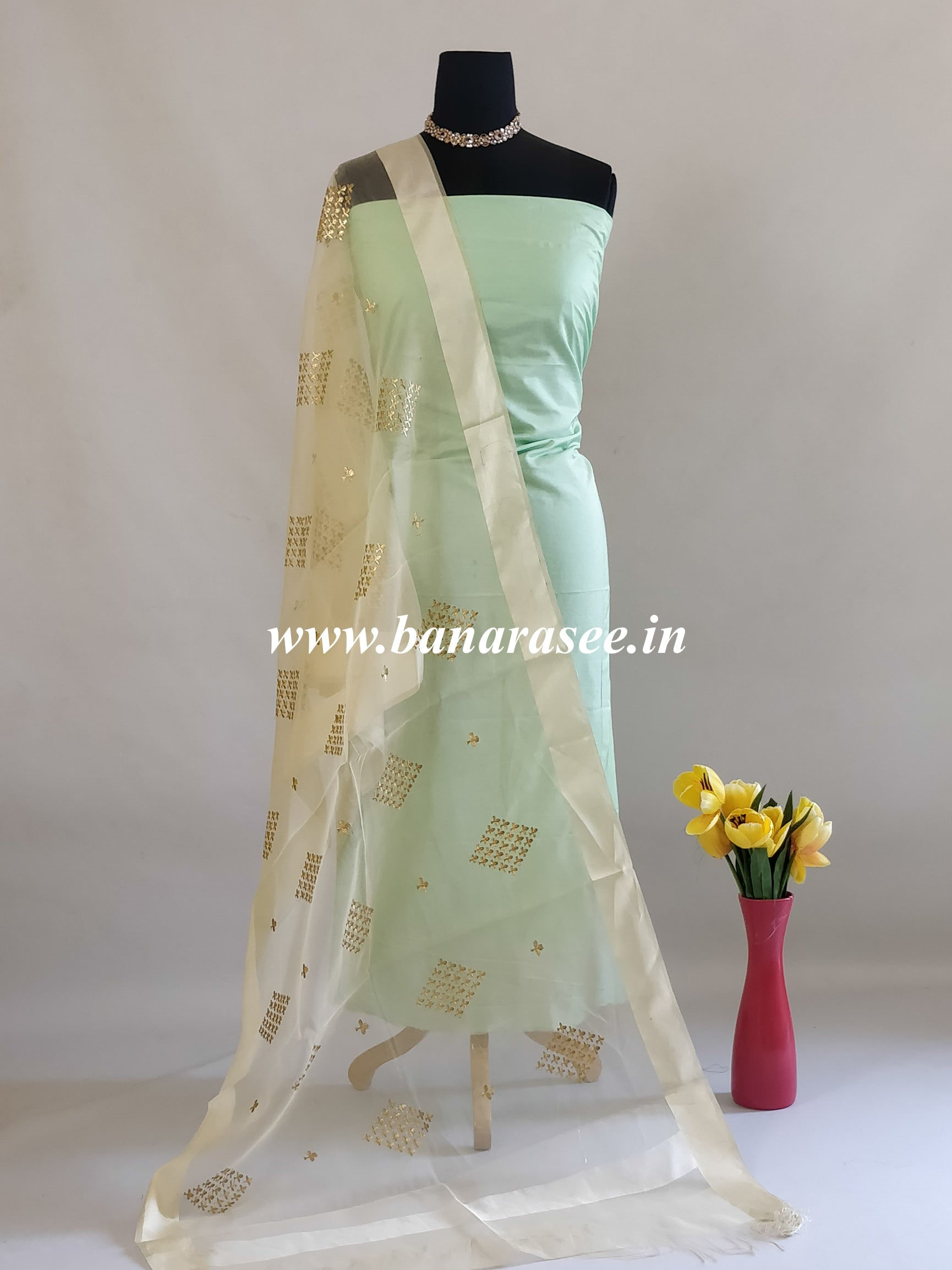 Banarasee Embroidered Gold Buta Design Organza Dupatta-Off White