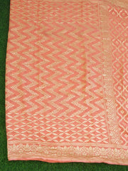 Banarasee Pure Khaddi Chiffon Silk Saree With Jaal Work Design-Coral