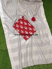Banarasee Handloom Pure Linen By Tissue Saree With Maroon Silk Blouse-Silver