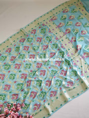 Banarasee  Handwoven Pure Chiffon Sari With Meenakari Jaal-Powder Blue