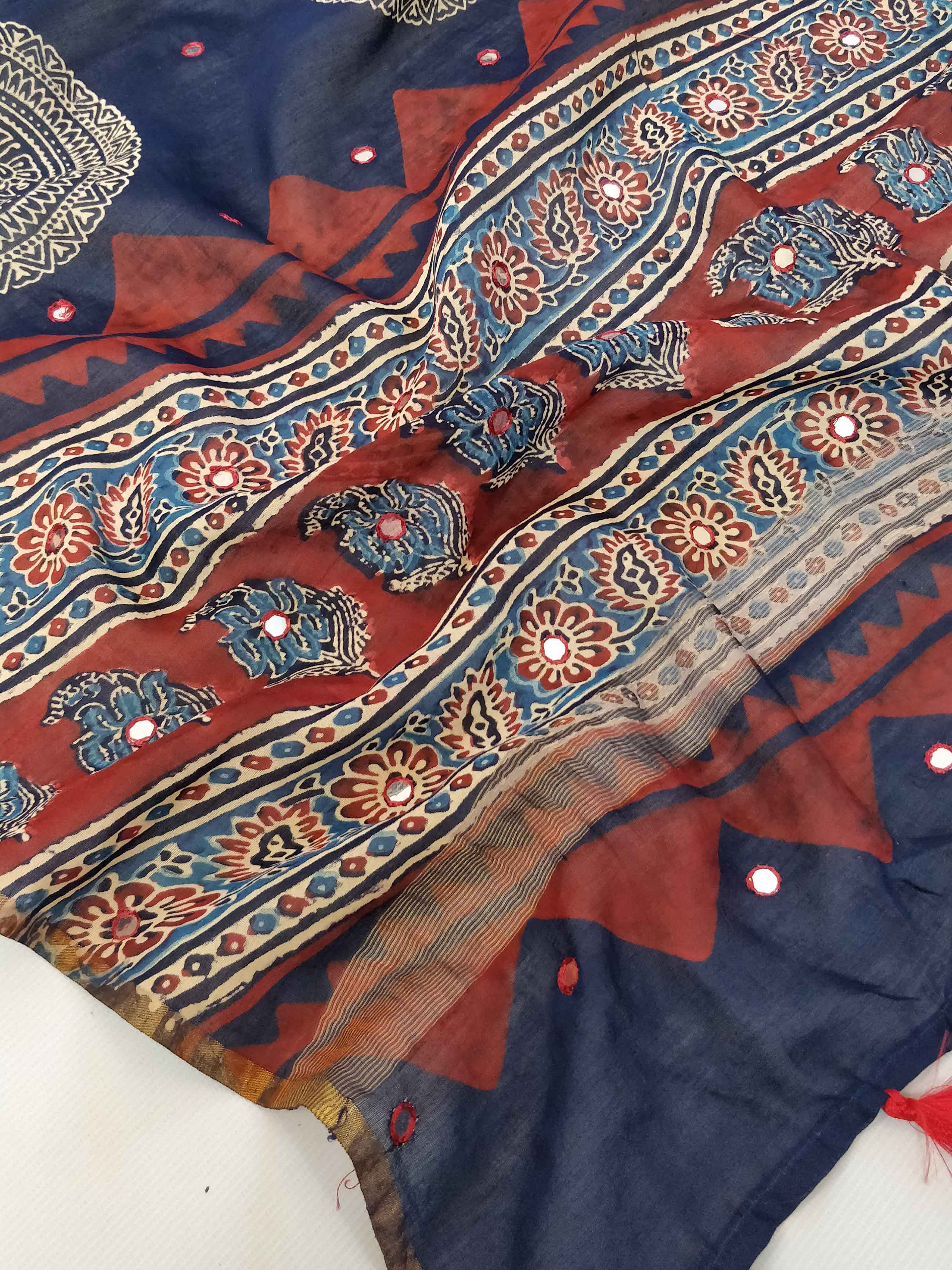 Banarasee Chanderi Ajrakh Print Dupatta With Mirror Work & Tassels- Indigo