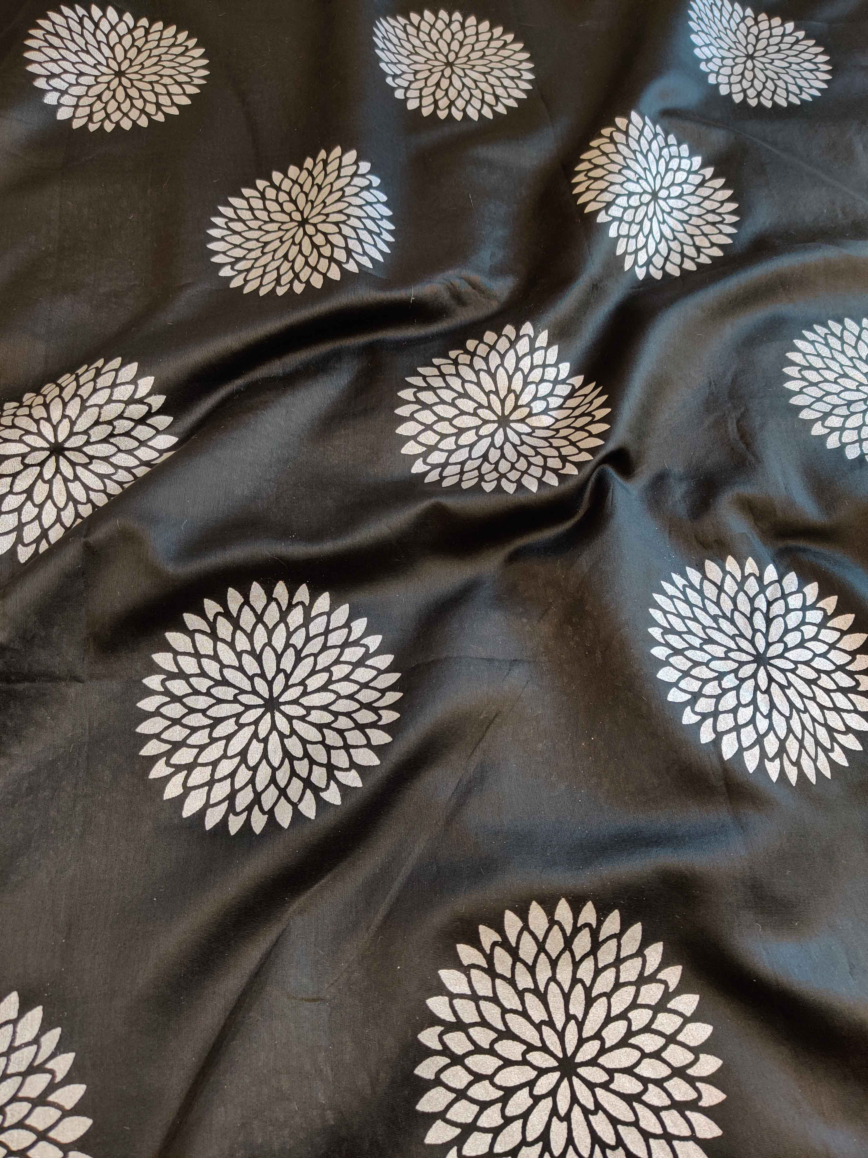 Banarasee Chanderi Salwar Kameez Silver Buta Fabric With Silver Dupatta-Black