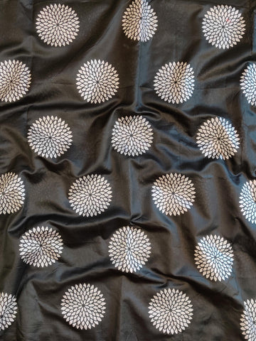 Banarasee Silver Buta Print Chanderi Fabric-Black