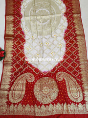 Banarasee Salwar Kameez Glossy Semi Silk Fabric With Zari Bandhej Dupatta-Red & White