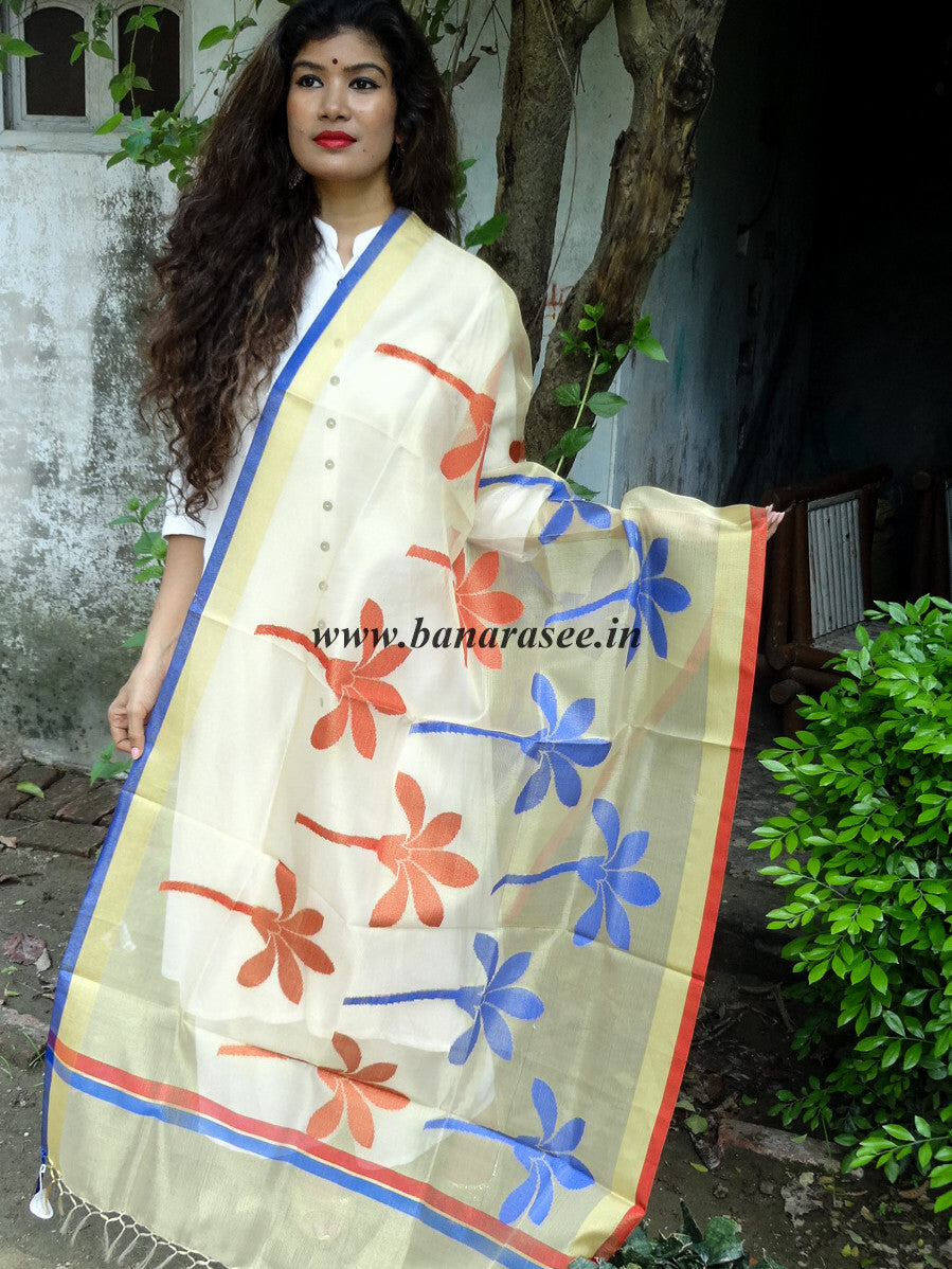Banarasi Sheer Tissue Dupatta With Resham Flowers