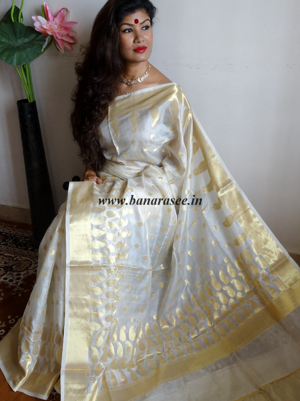 Banarasee/Banarasi Handwoven Pure Tussar Silk Sari With Gold Zari Paisley & Polka Dot-Off White