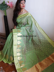 Banarasee Chanderi Cotton Gold Buti Saree-Green