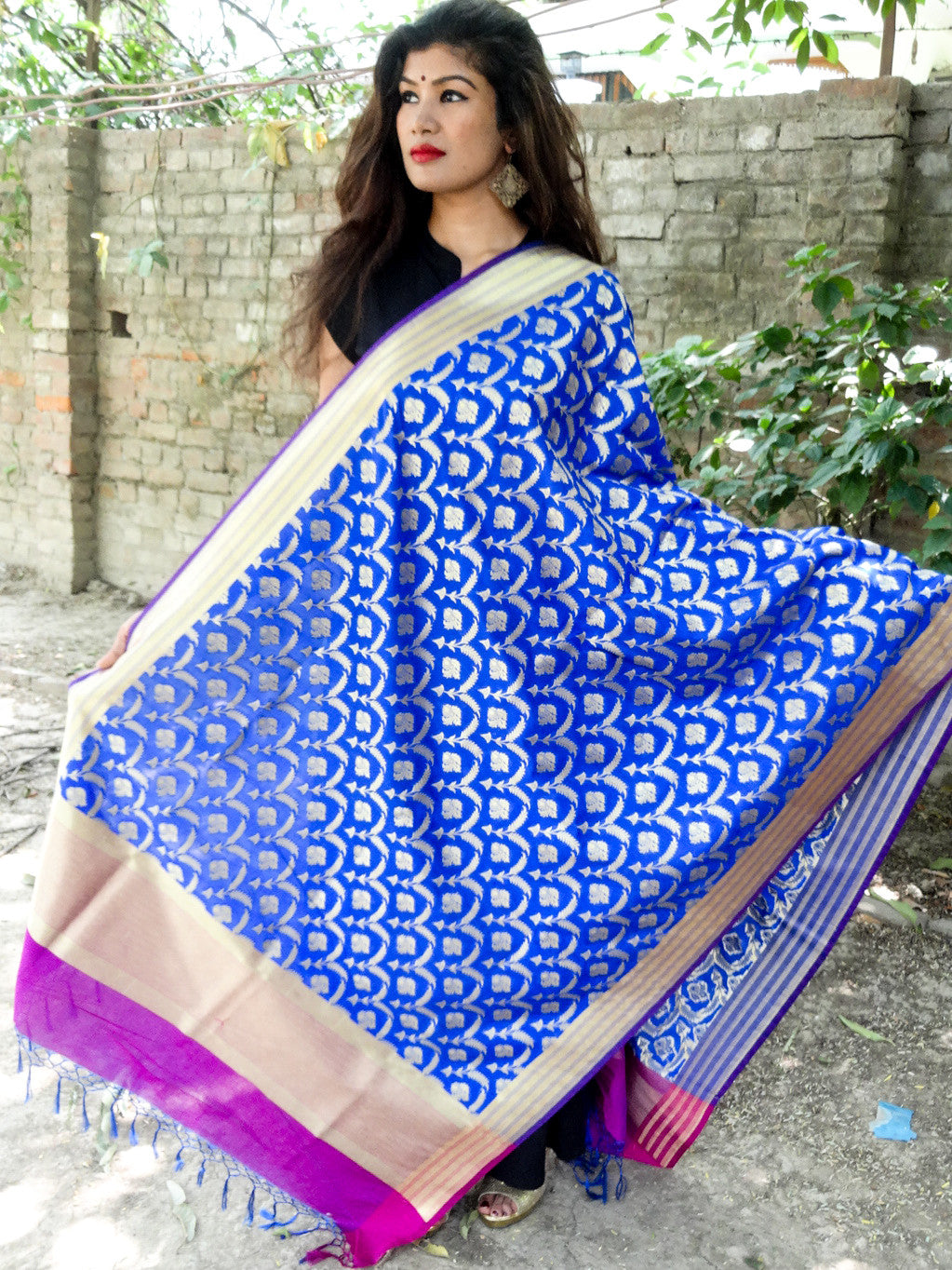 Art Silk Dupatta Jangla Pattern-Royal Blue