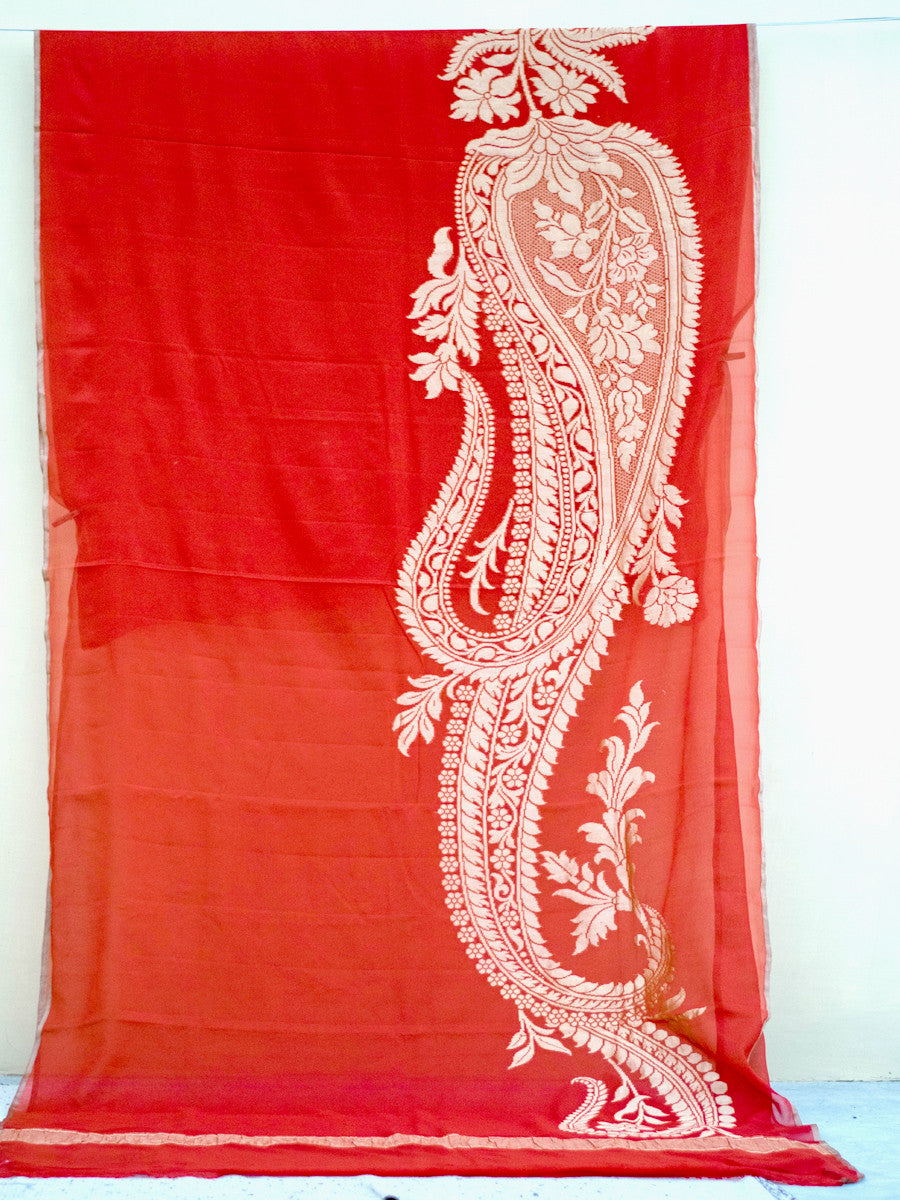 Red Khaddi Georgette Saree With Golden Zari Paisley