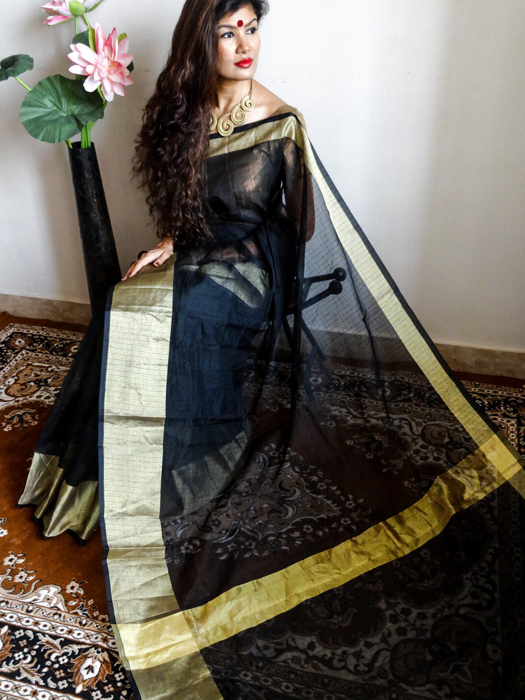 Banarasee/Banarasi Kota Silk Mix Sari-Black