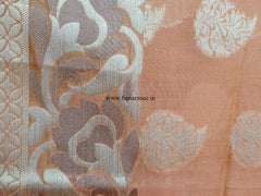 Banarasee/Banarasi Handloom Cotton Silk Mix Jamdani Sari With Zari Buti-Orange(Dual Tone)
