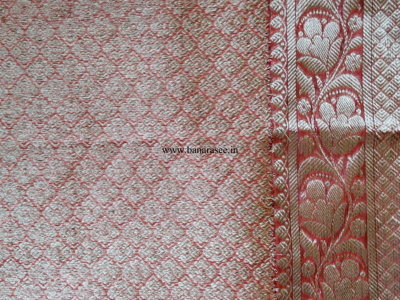 Banarasee/Banarasee Pure Handloom Silk Cotton Sari With Golden Border-Red