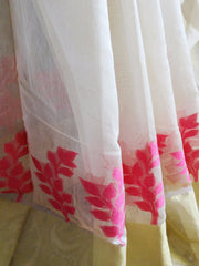 Banarasee Chanderi Cotton Broad Border Leaf Buti- White