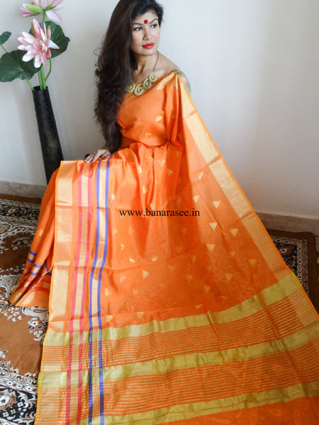 Banarasee/Banarasi Cotton Silk Sari With Zari Work Triangle Buti-Orange