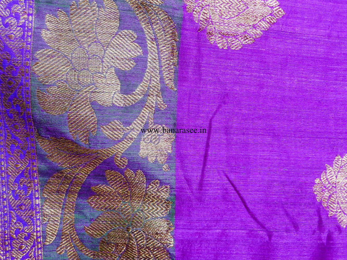 Banarasee/Banarasee Pure Handloom Dupion Silk Sari With Broad Border-Purple