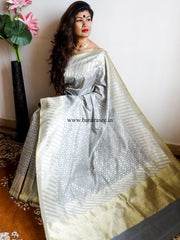 Banarasee/Banarasi Pure Handloom Cotton Silk Jamdani Sari With Zari Weaving-Grey