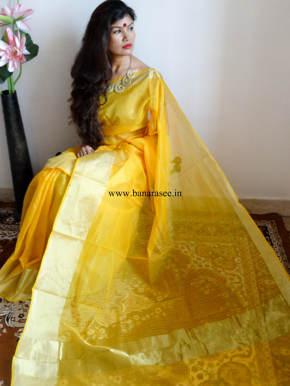 Banarasee/Banarasi Kota Silk Mix Sari-Yellow