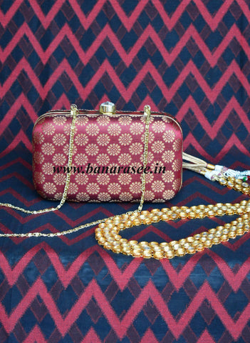 Brick Red Brocade Box Clutch Bag with Zari Floral Buti