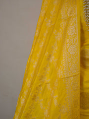 Banarasee Salwar Kameez Glossy Semi Silk With Zari Work Fabric-Yellow & Green