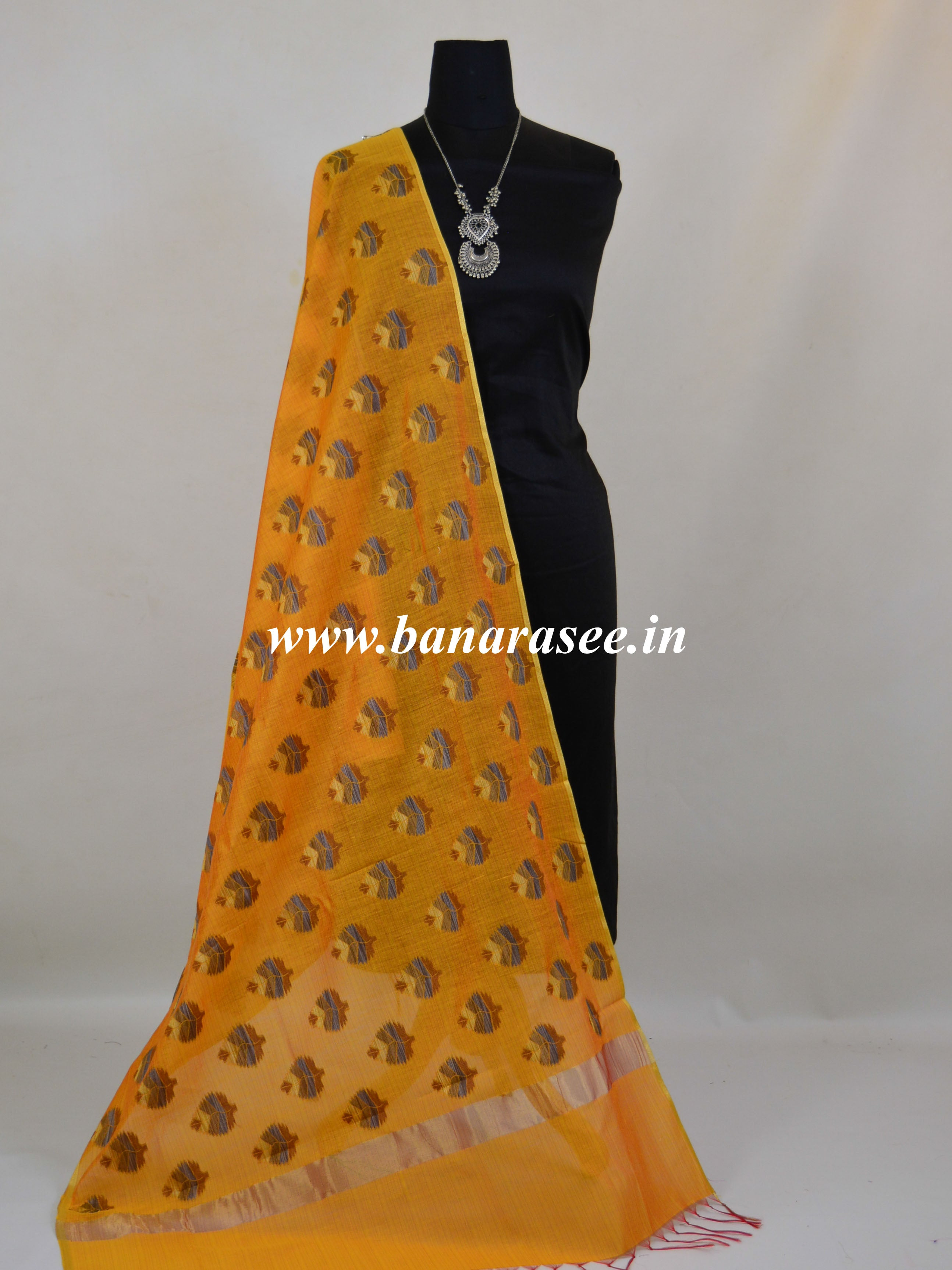 Banarasee Cotton Silk Ghichha Design Dupatta-Gold