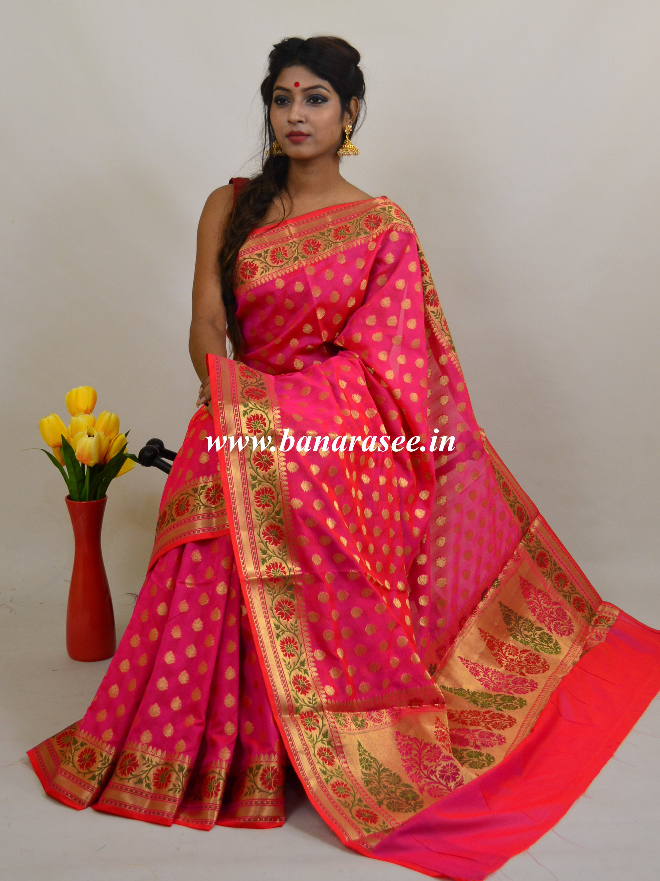 Banarasee Art Silk Saree with Zari Paithani Border-Hot Pink