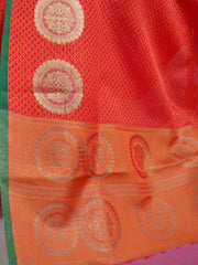 Banarasee Kora Muslin Saree With Tanchoi Weaving & Thin Border-Red