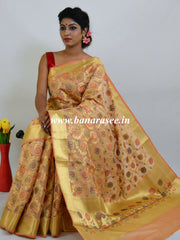 Banarasee Art Silk Saree With Meena Floral Jaal Work-Gold