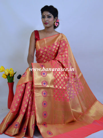 Banarasee Art Silk Saree With Zari Buti & Skirt Border-Peach