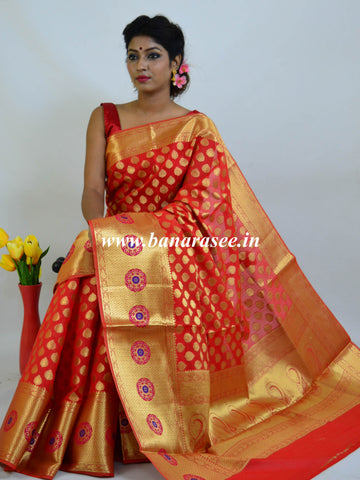 Banarasee Art Silk Saree With Zari Buti & Skirt Border-Red