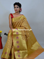 Banarasee Art Silk Saree With Zari Buti & Skirt Border-Gold