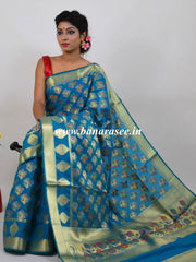 Banarasee Art Silk Saree With Meena Buta Work-Blue