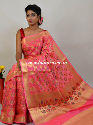 Banarasee Art Silk Saree With Meena Buta Work-Pink