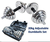 20KG Adjustable Chrome DumbBell Set - Arcade Sports