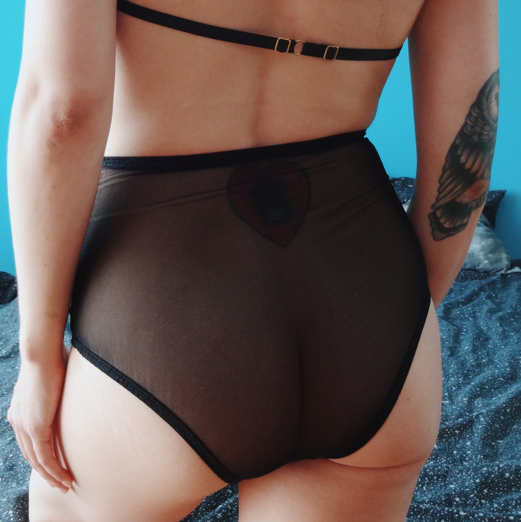Sustainable Eco Conscious Black Lingerie Handmade Undies See Through Panties Waste Free