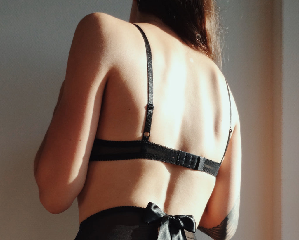 Black Triangle Bra Adjustable Fastener Back