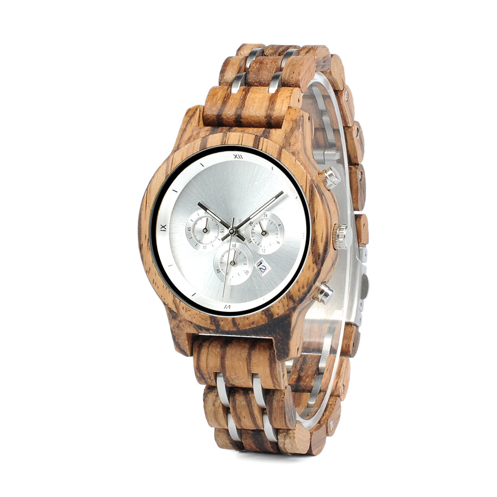 silver wood watch