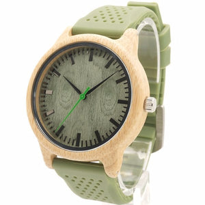 Bamboo Watches - Bamboo Watch With Silicone Green Strap