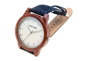 Wooden Watch - Hudson – Red Sandalwood And Blue Suede Wooden Watch