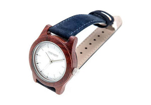 Wooden Watch - Mini Hudson – Red Sandalwood And Blue Suede Wooden Watch