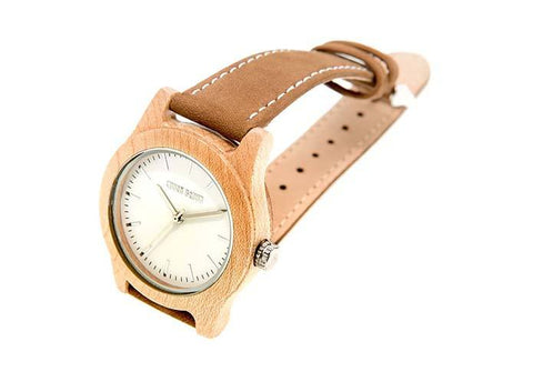 Wooden Watch - Mini Newman – Maple Wood And Suede Wooden Watch