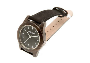 Wooden Watch - Mini Poitier – Black Sandalwood And Suede Wooden Watch